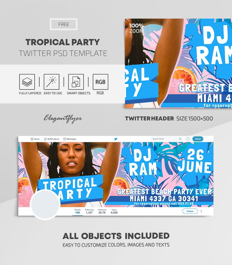 Tropical Party – Free Twitter Header PSD Template