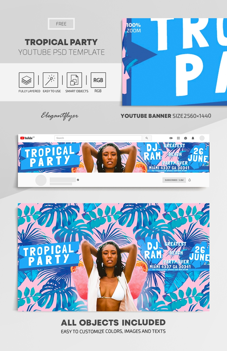 Tropical Party – Free Youtube Channel banner PSD Template