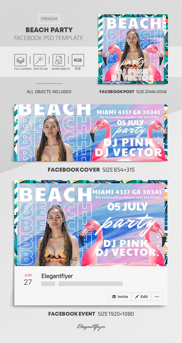 Beach Party – Facebook Cover Template in PSD + Post + Event cover
