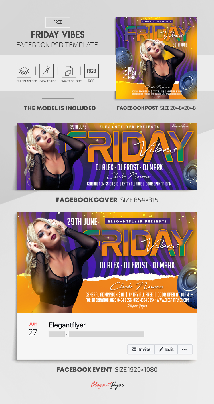 Friday Vibes – Free Facebook Cover Template in PSD + Post + Event cover