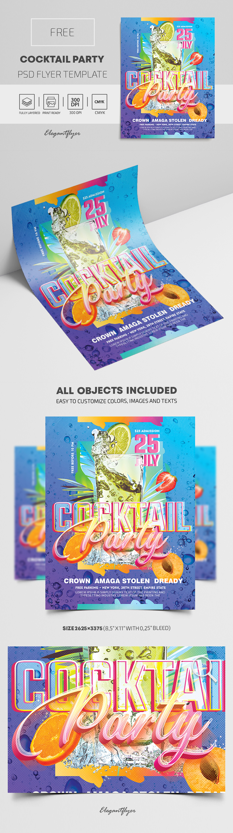 Cocktail Party – Free Flyer PSD Template