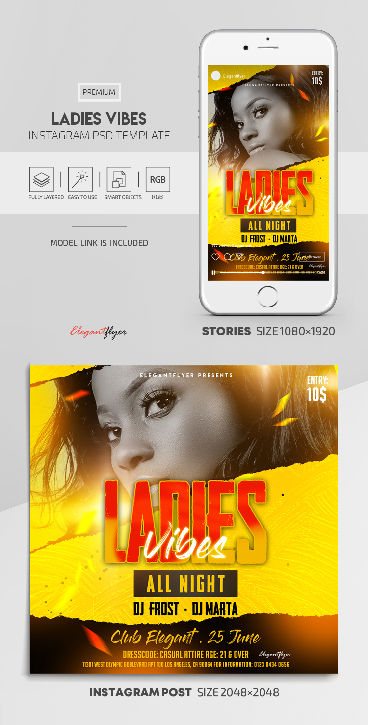 Ladies Vibes – Instagram Stories Template in PSD + Post Templates