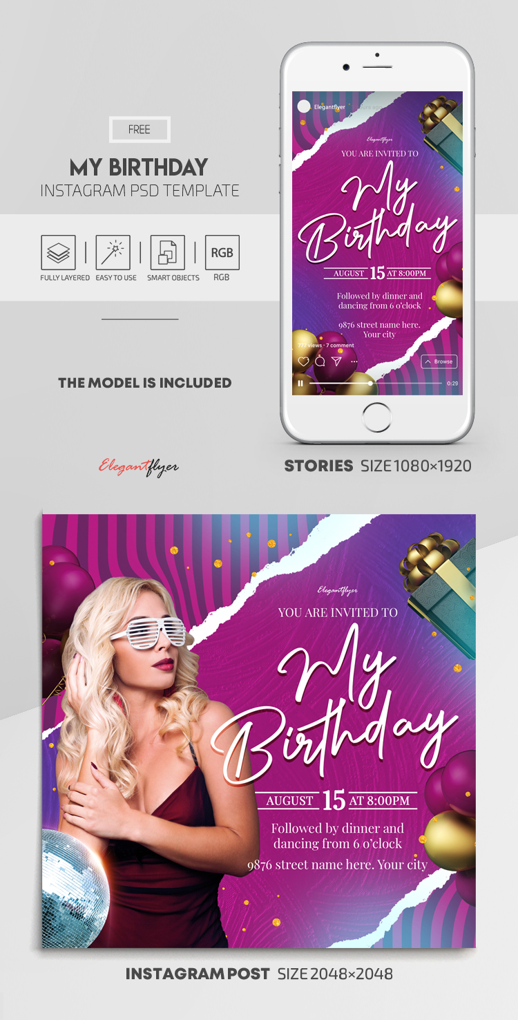 My Birthday Party – Free Instagram Stories Template in PSD + Post Template