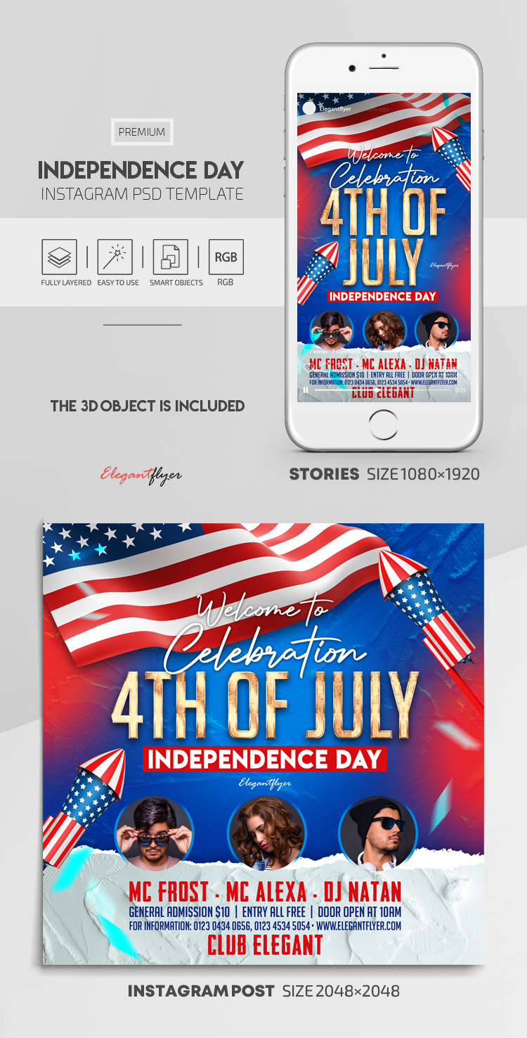 Independence Day – Instagram Stories Template in PSD + Post Templates