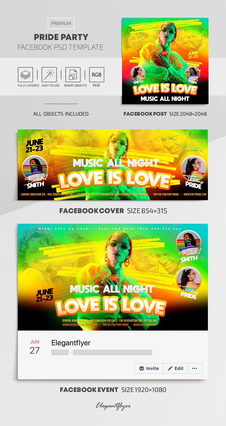 Pride Party – Facebook Cover Template in PSD + Post + Event cover