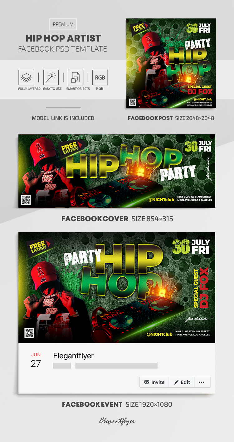 Hip Hop Artist – Facebook Cover Template in PSD + Post + Event cover