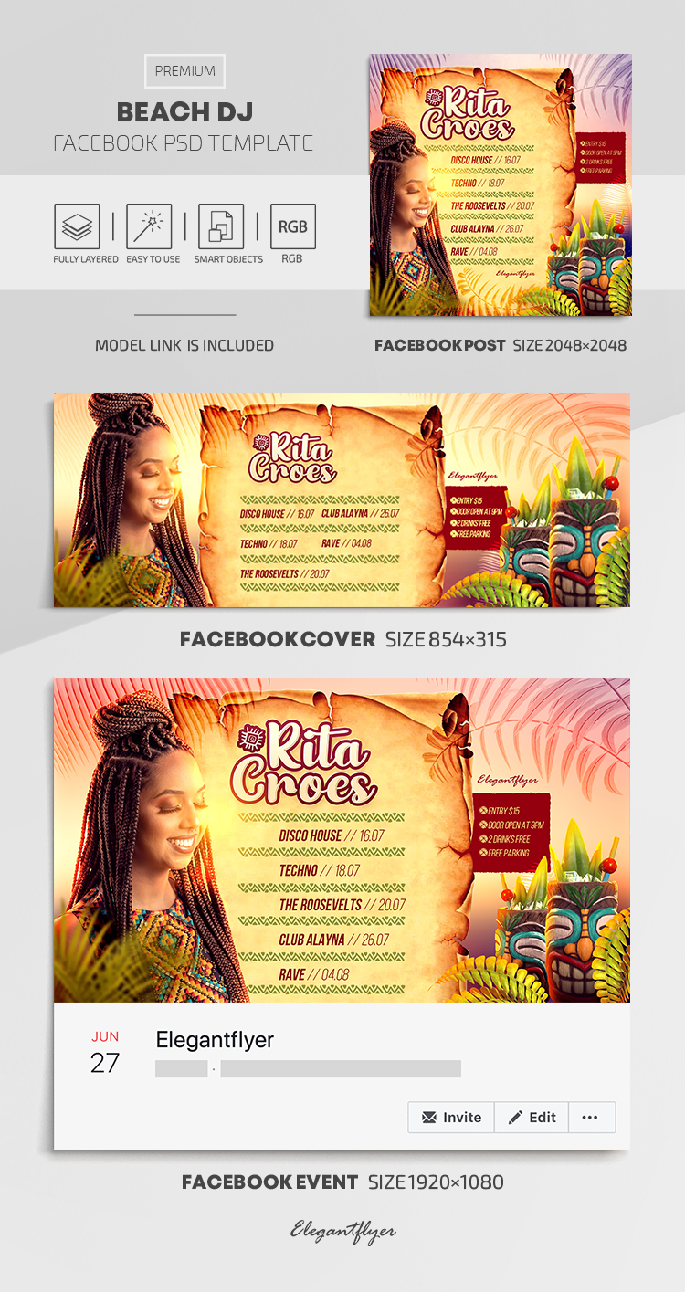 Beach DJ – Facebook Cover Template in PSD + Post + Event cover