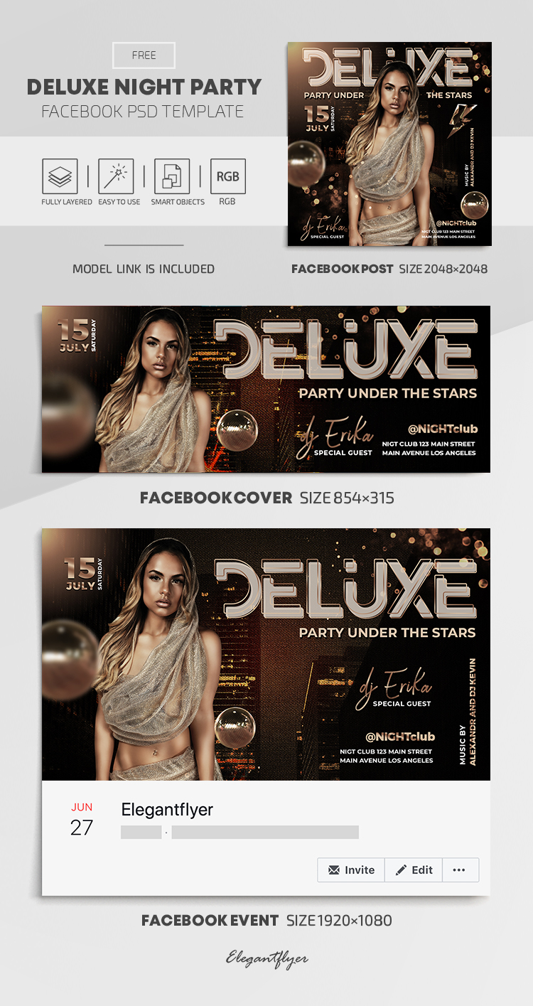 Deluxe Night Party – Free Facebook Cover Template in PSD + Post + Event cover