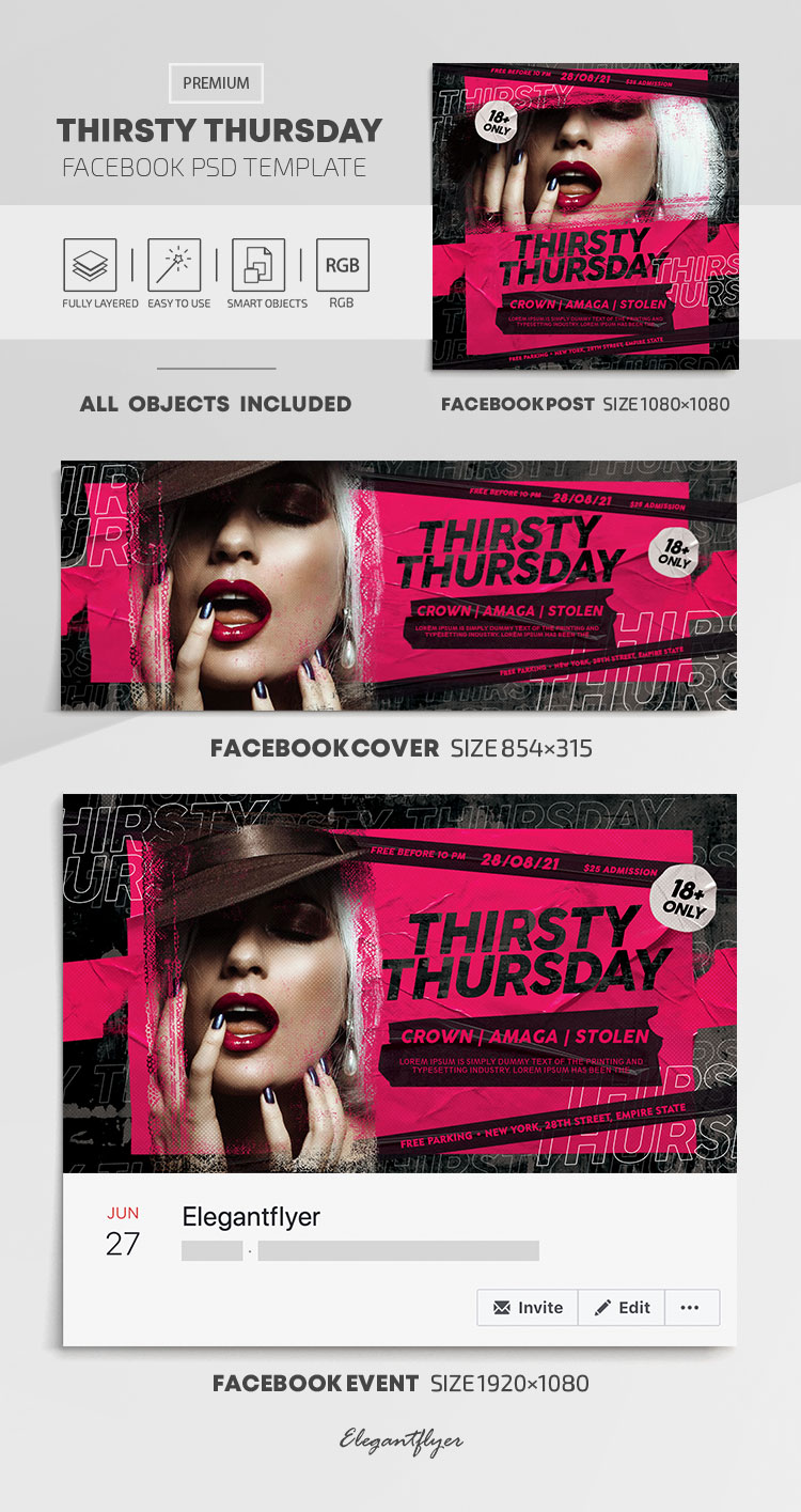 Thirsty Thursday – Facebook Cover Template in PSD + Post + Event cover