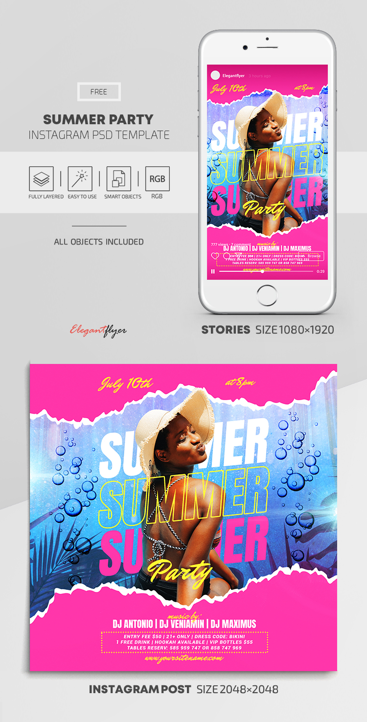 Summer Party – Free Instagram Stories Template in PSD + Post Template