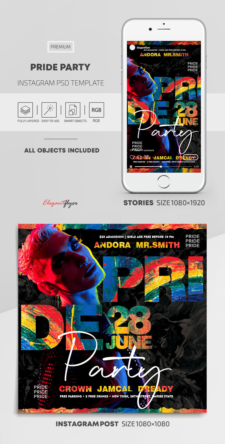 Pride Party – Instagram Stories Template in PSD + Post Templates