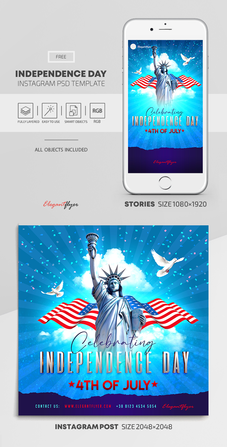 Independence Day – Free Instagram Stories Template in PSD + Post Template