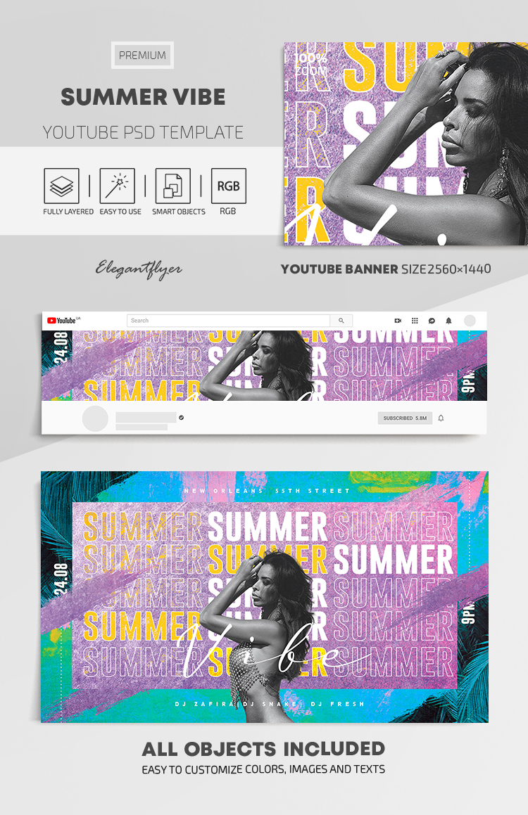 Summer Vibe – Youtube Channel banner PSD Template
