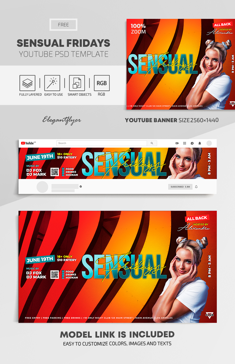 Sensual Fridays – Free Youtube Channel banner PSD Template