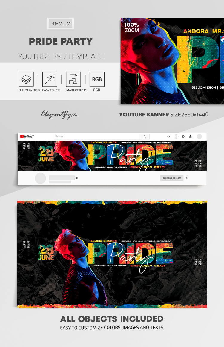 Pride Party – Youtube Channel banner PSD Template