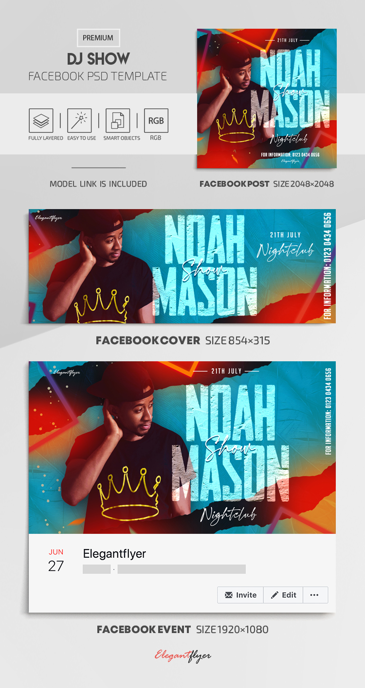 DJ Show – Facebook Cover Template in PSD + Post + Event cover