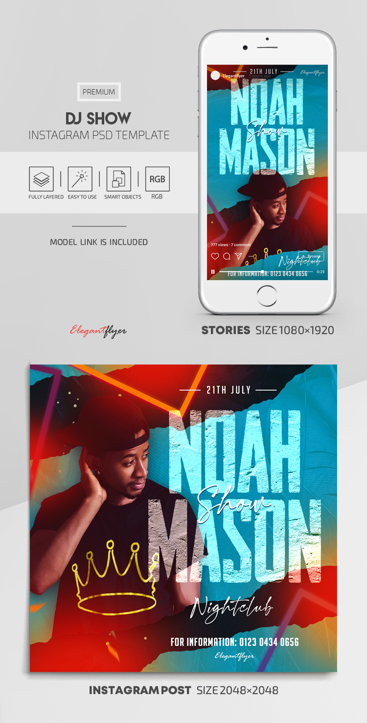 DJ Show – Instagram Stories Template in PSD + Post Templates