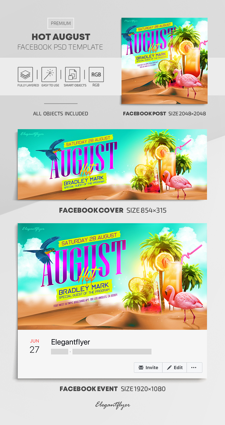 Hot August – Facebook Cover Template in PSD + Post + Event cover