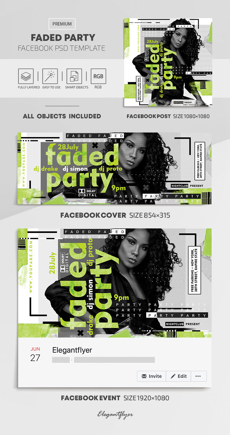 Faded Party – Facebook Cover Template in PSD + Post + Event cover