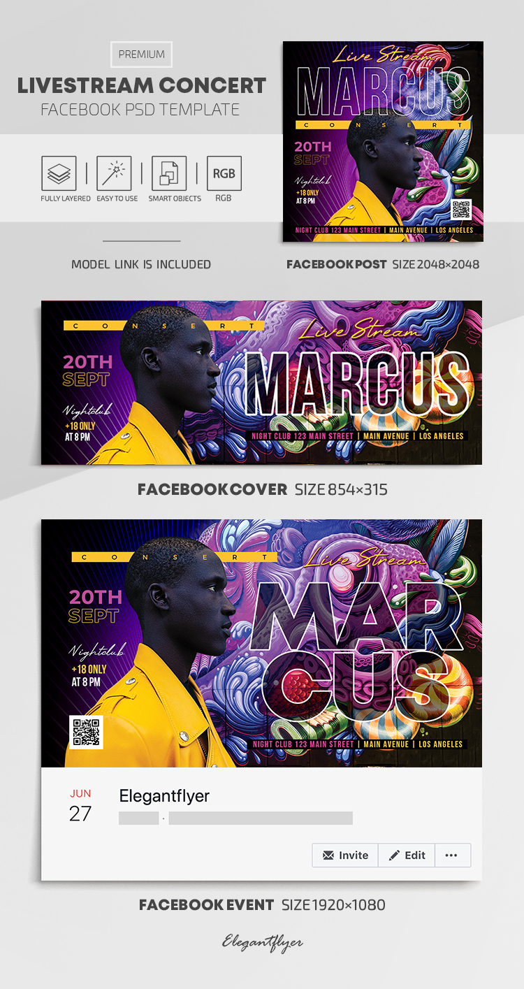 Livestream Concert – Facebook Cover Template in PSD + Post + Event cover