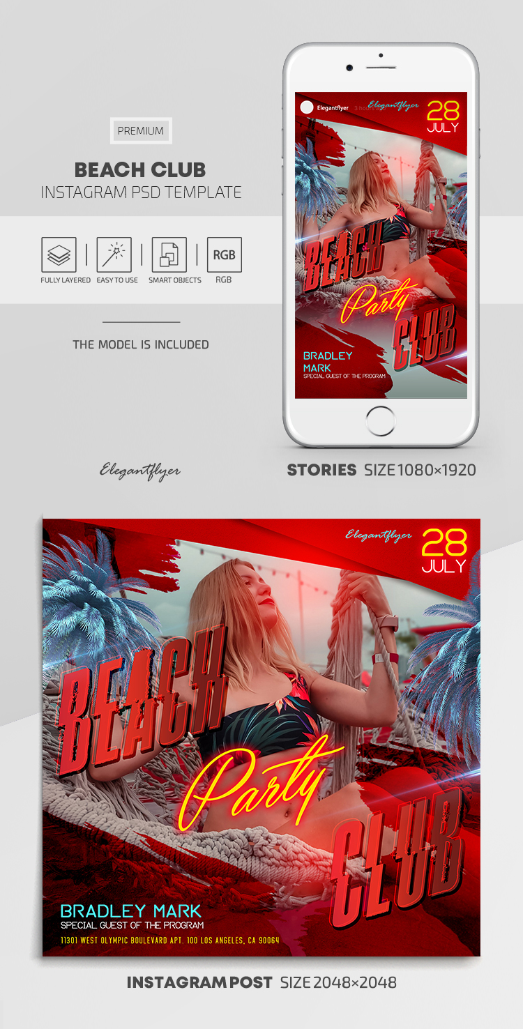 Beach Club – Instagram Stories Template in PSD + Post Templates