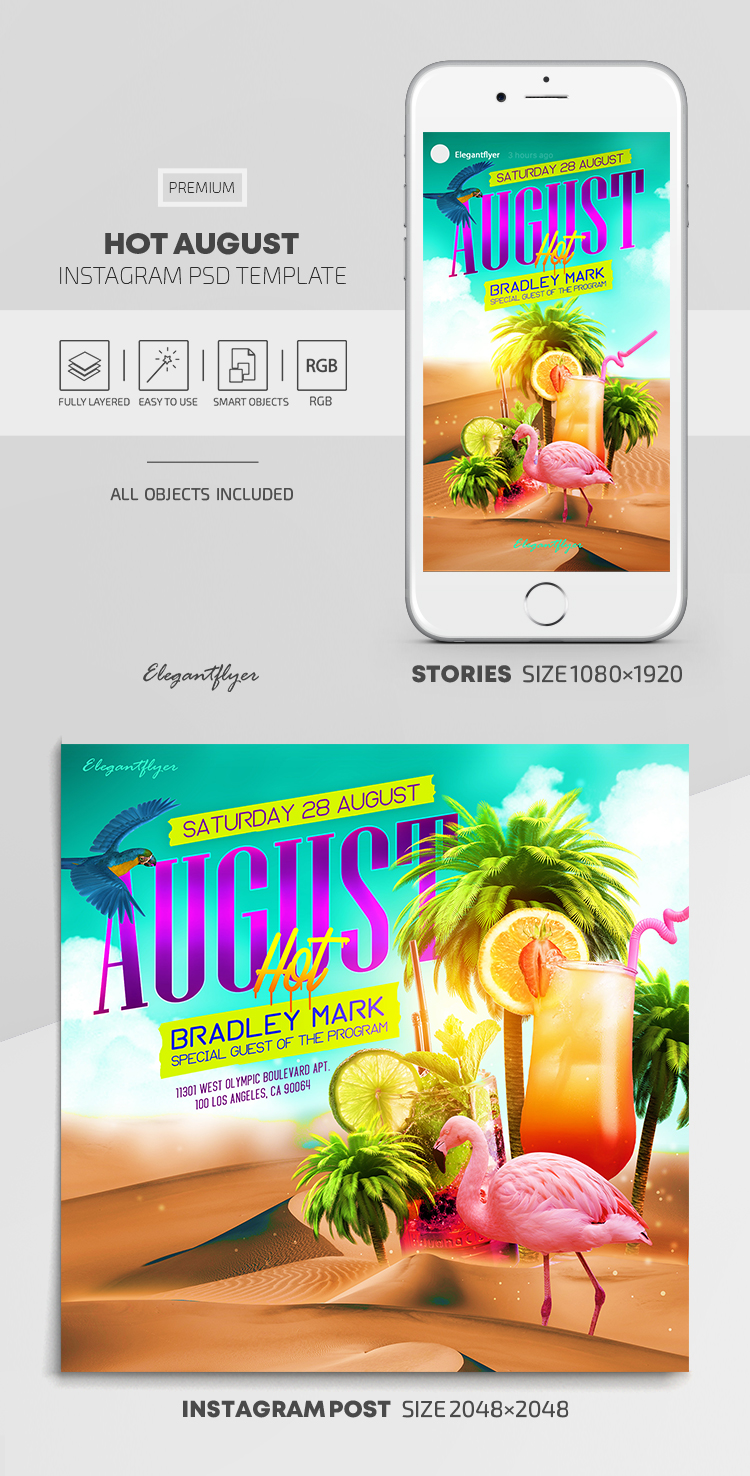 Hot August – Instagram Stories Template in PSD + Post Templates