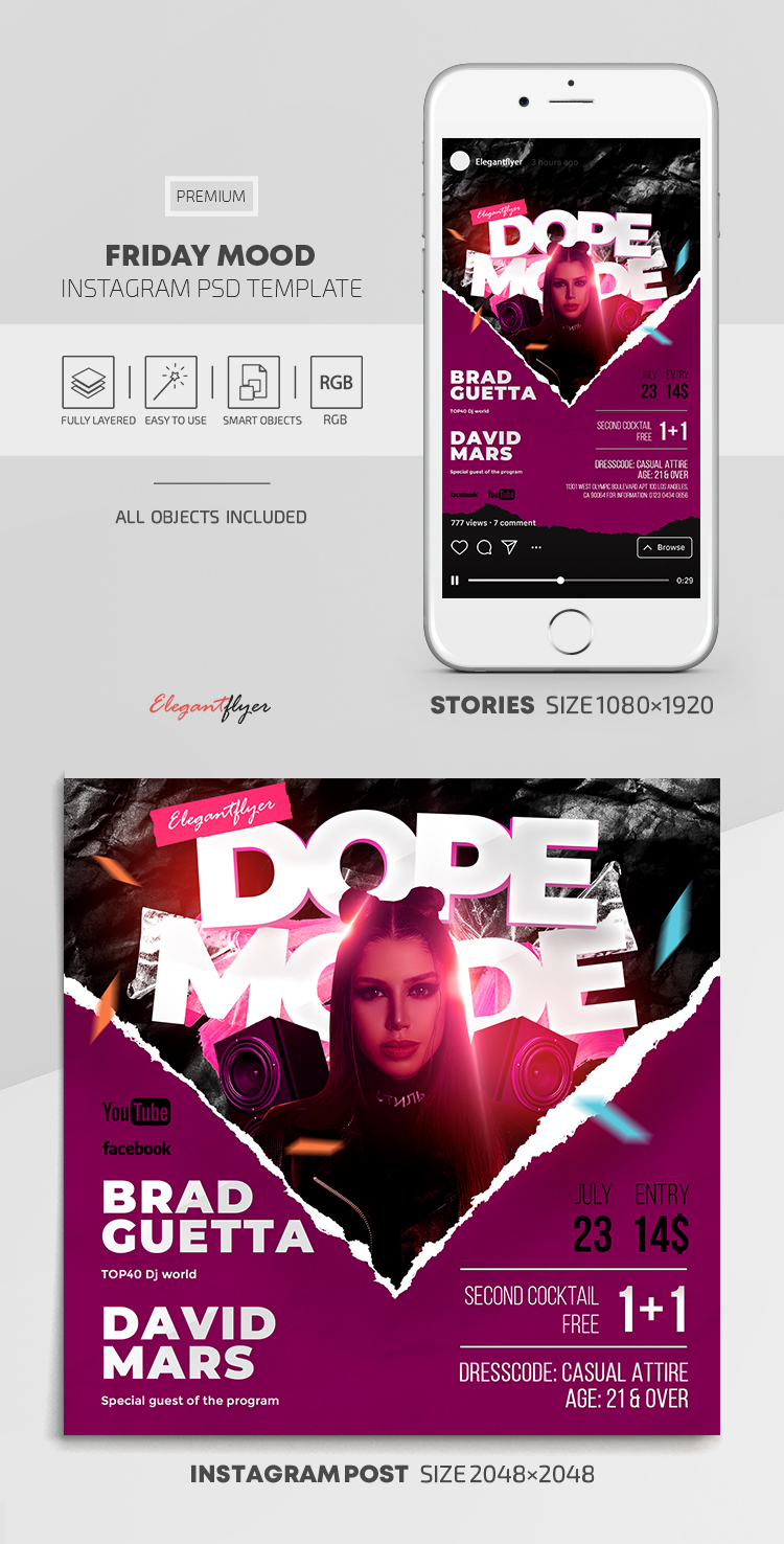 Friday Mood – Instagram Stories Template in PSD + Post Templates