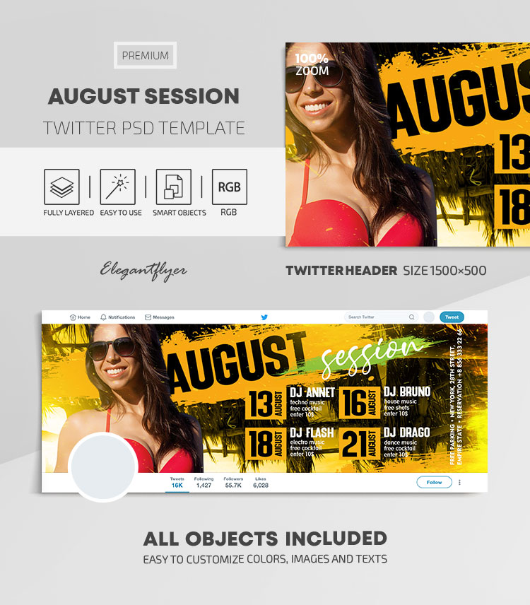 August Session – Twitter Header PSD Template