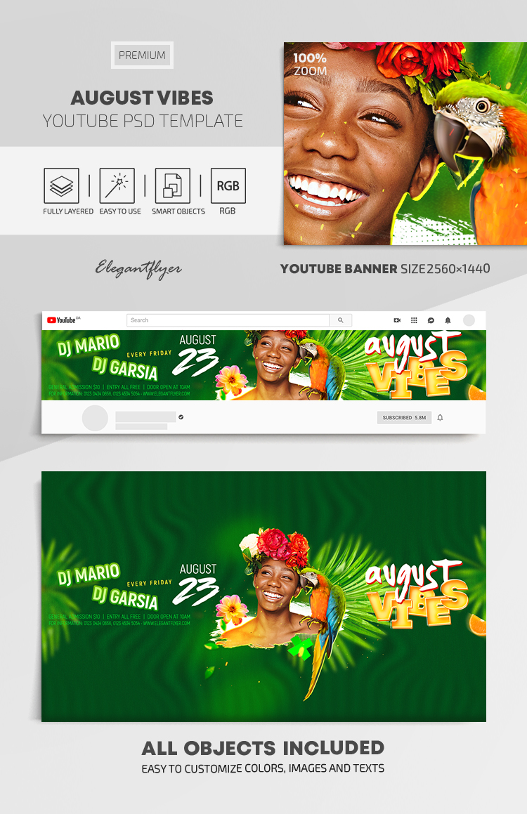 August Vibes – Youtube Channel banner PSD Template