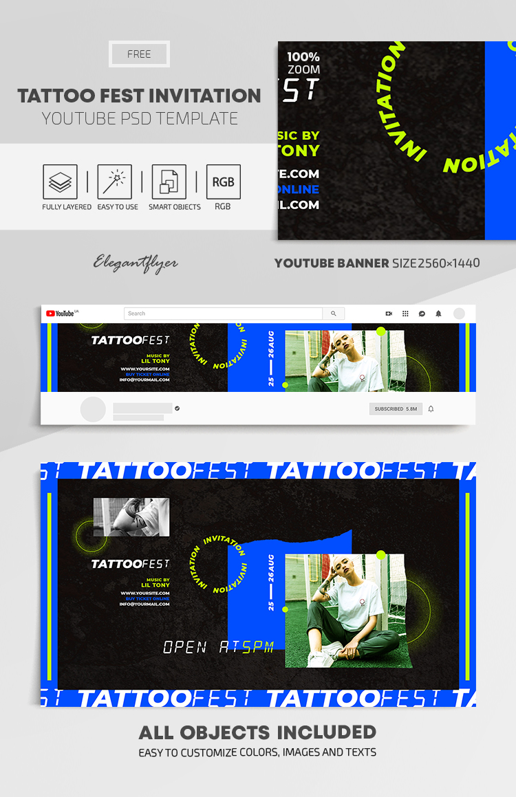 Tattoo Fest Invitation – Free Youtube Channel banner PSD Template