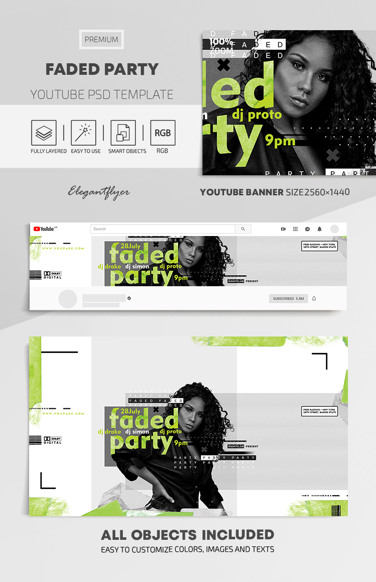 Faded Party – Youtube Channel banner PSD Template
