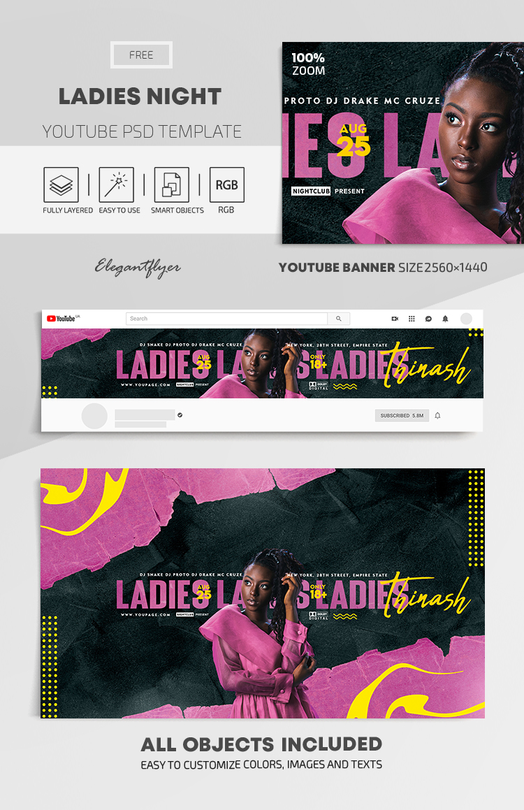 Ladies Night – Free Youtube Channel banner PSD Template