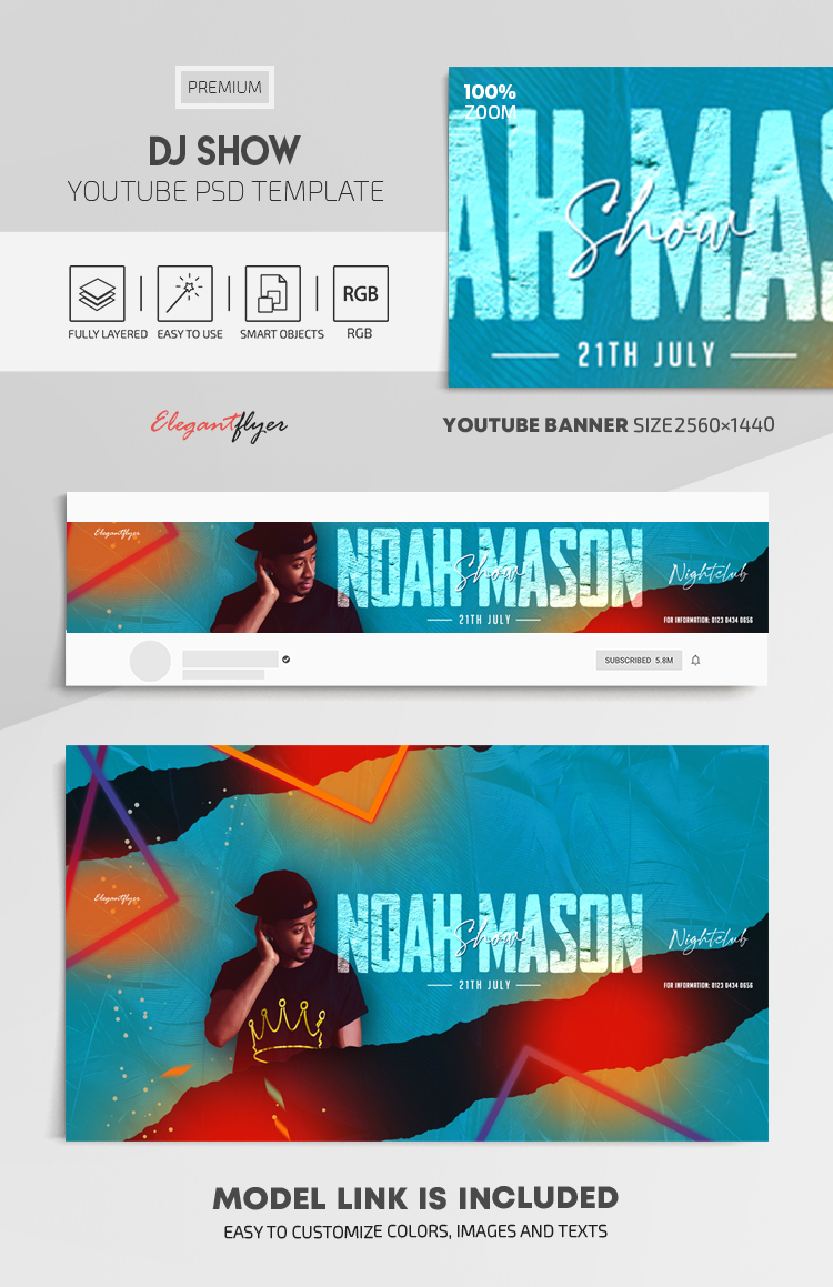 DJ Show – Youtube Channel banner PSD Template
