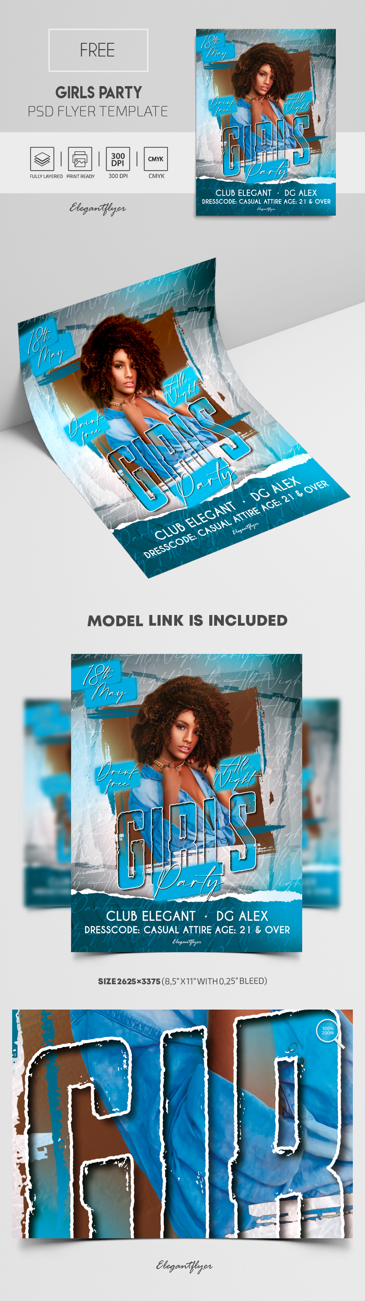 Girls Party – Free Flyer PSD Template