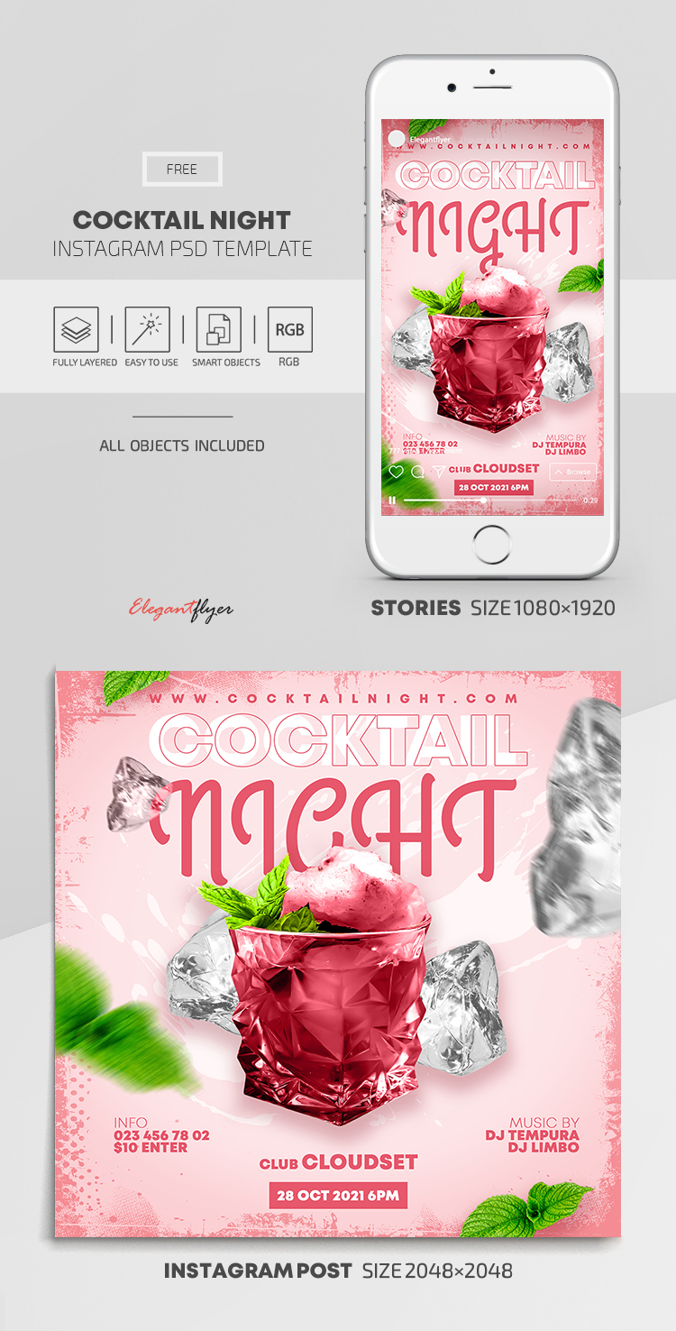 Cocktail Night – Free Instagram Stories Template in PSD + Post Template