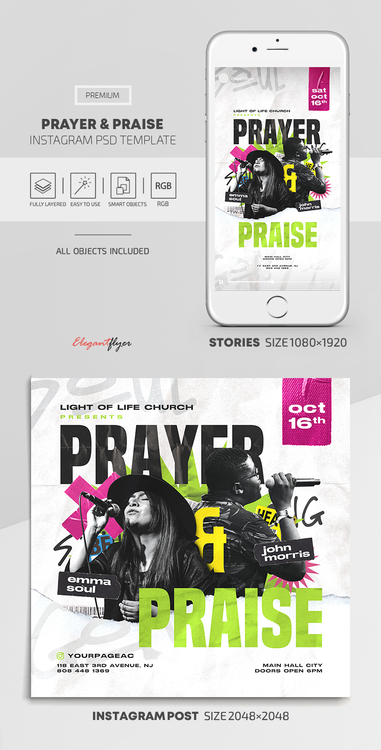 Prayer and Praise – Instagram Stories Template in PSD + Post Templates