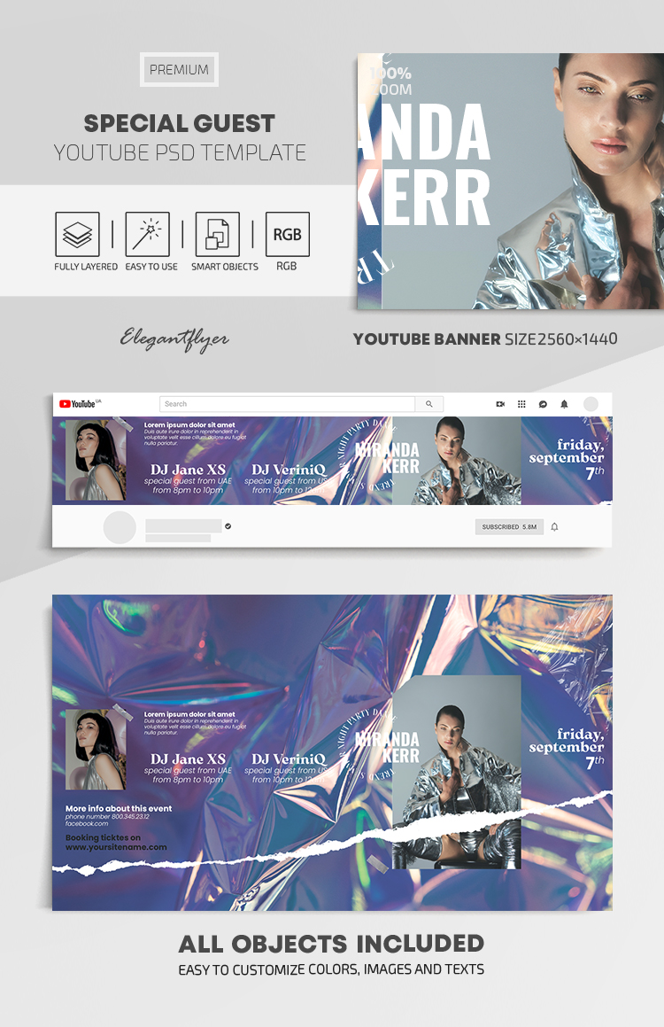 Special Guest – Youtube Channel banner PSD Template