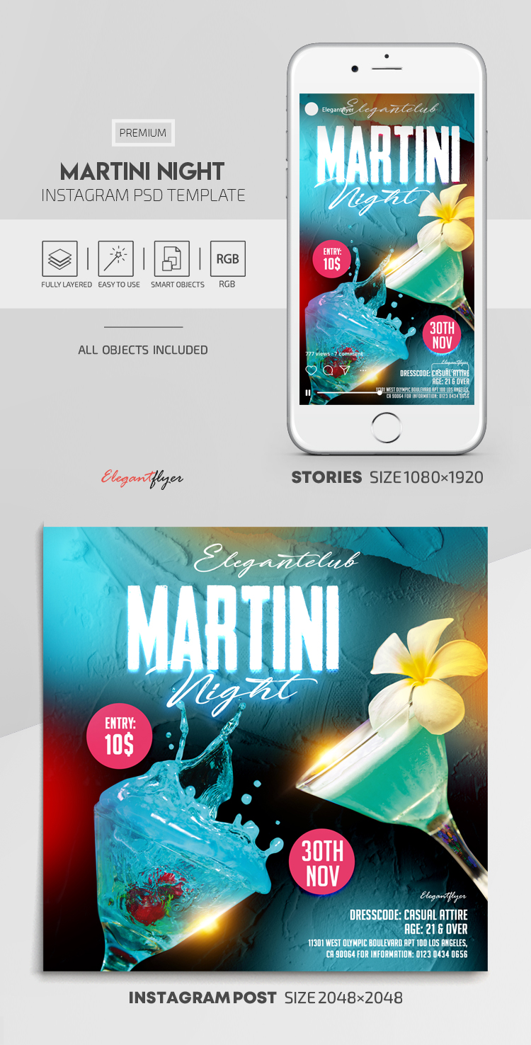 Martini Night – Instagram Stories Template in PSD + Post Templates
