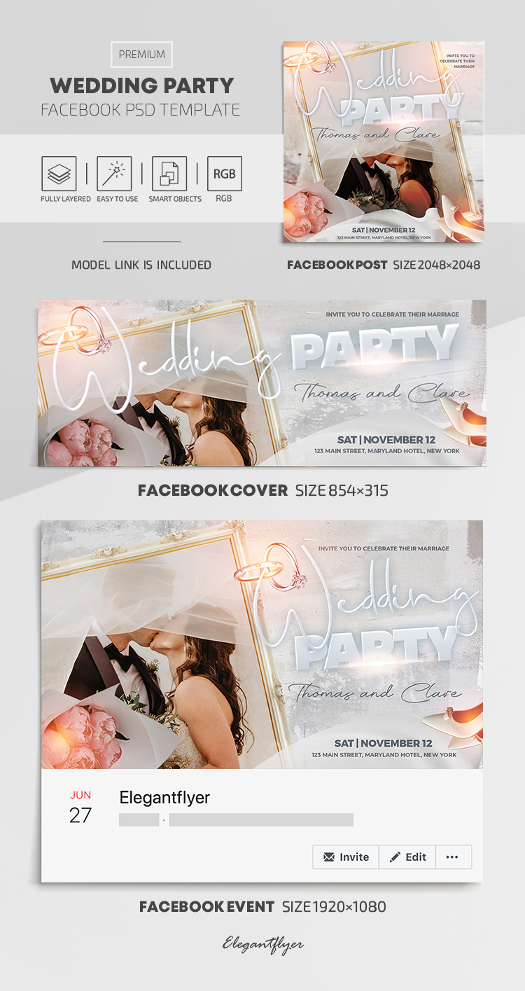 Wedding Party – Facebook Cover Template in PSD + Post + Event cover