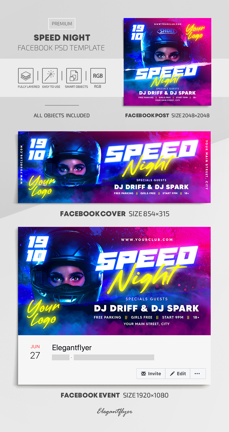 Speed Night – Facebook Cover Template in PSD + Post + Event cover