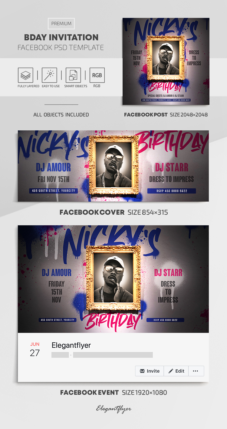 Bday Invitation – Facebook Cover Template in PSD + Post + Event cover