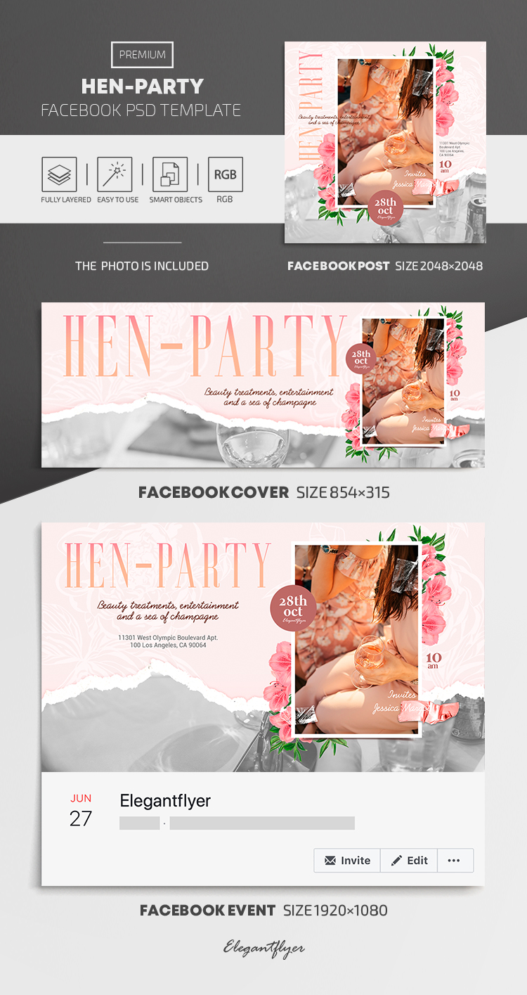 Hen Party – Facebook Cover Template in PSD + Post + Event cover