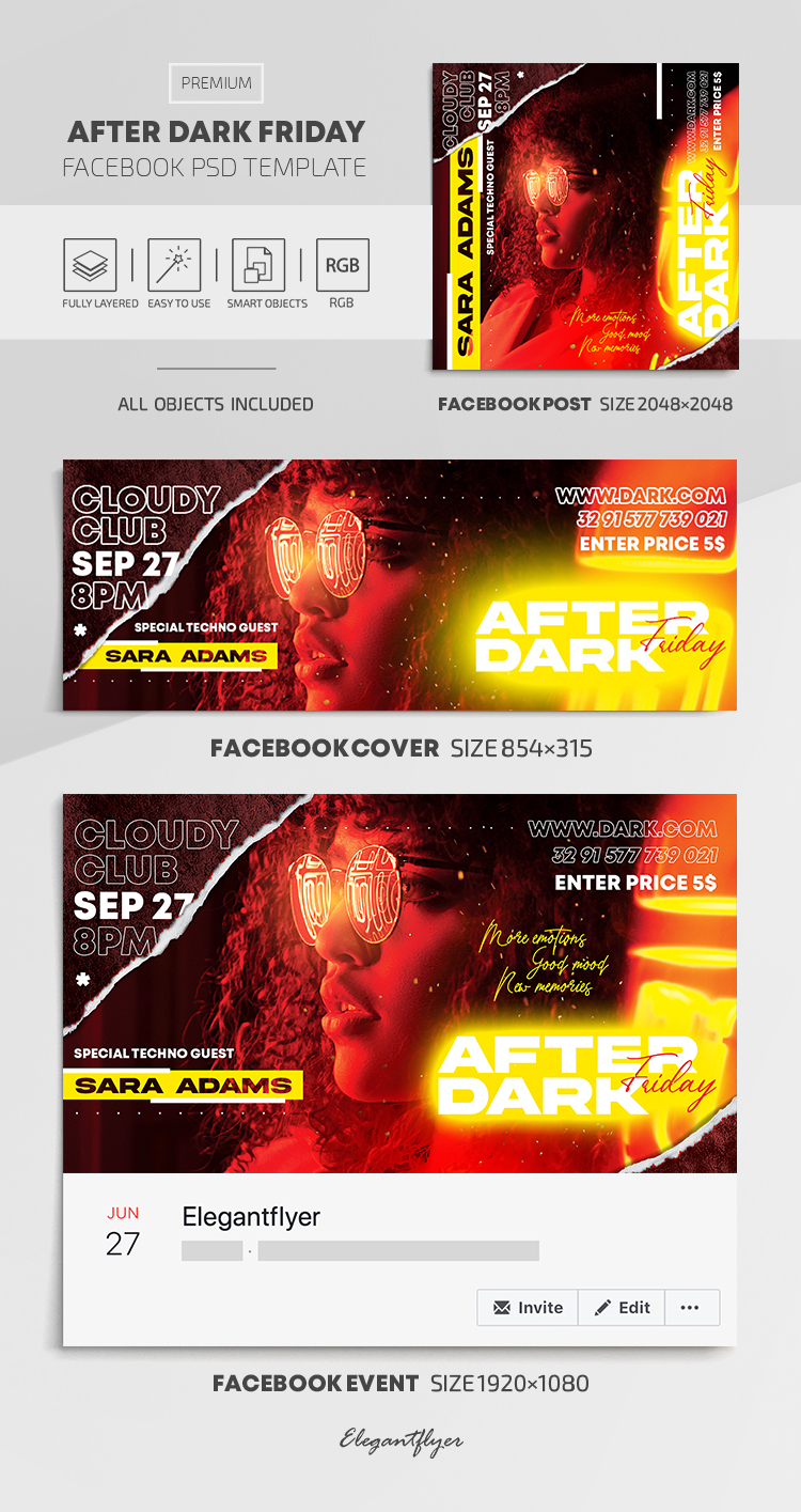 After Dark Friday Party – Facebook Cover Template in PSD + Post + Event cover