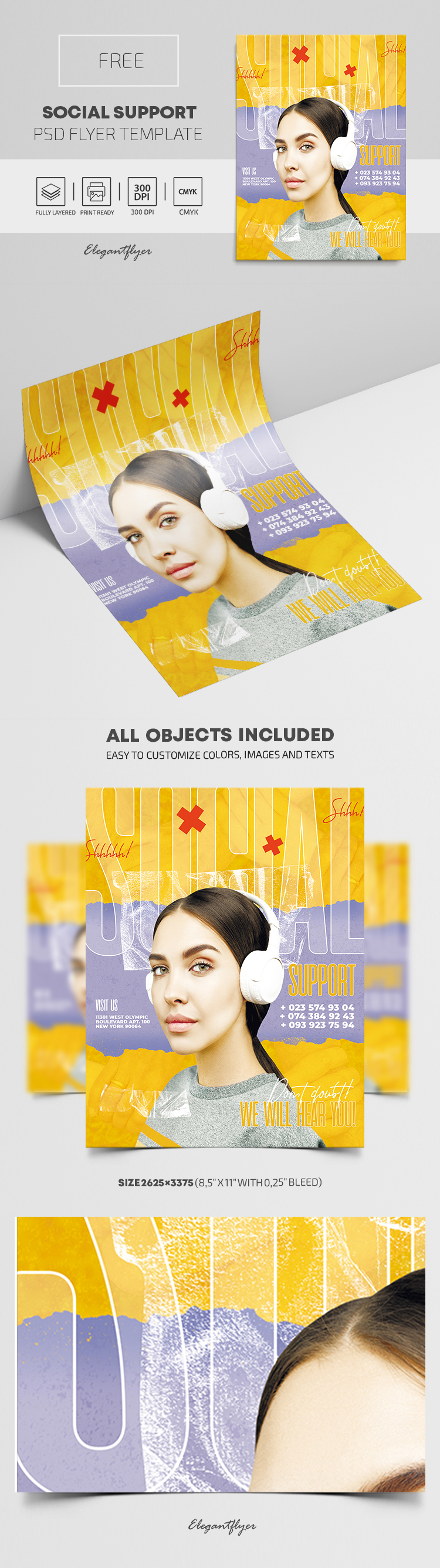 Social Support – Free Flyer PSD Template