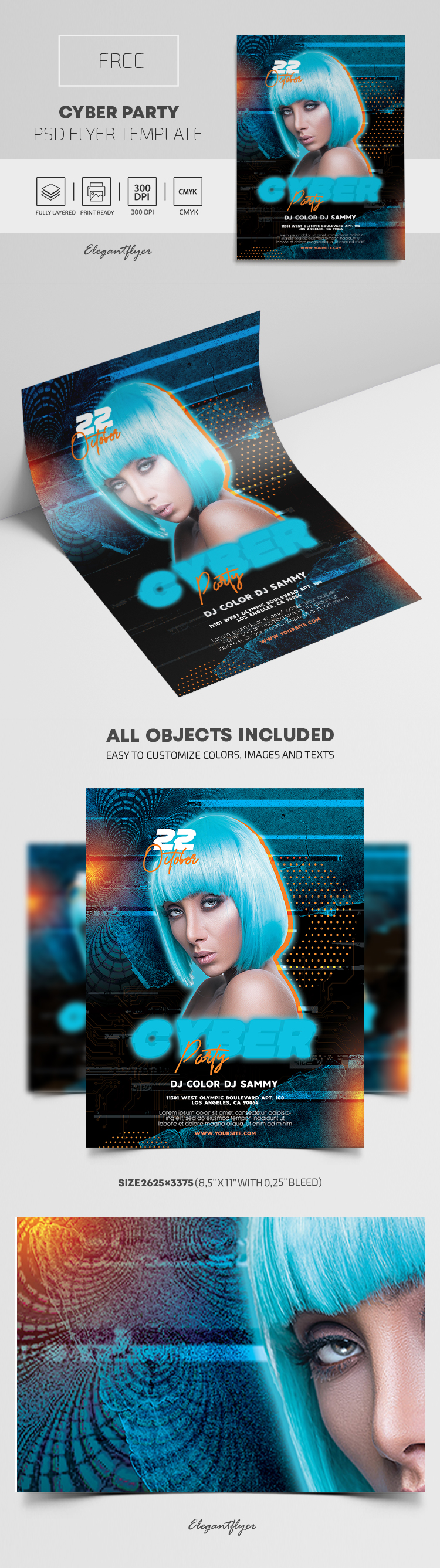 Cyber Party – Free Flyer PSD Template