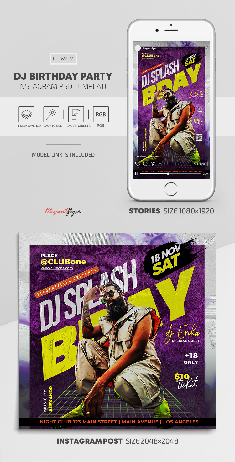 DJ Birthday Party – Instagram Stories Template in PSD + Post Templates