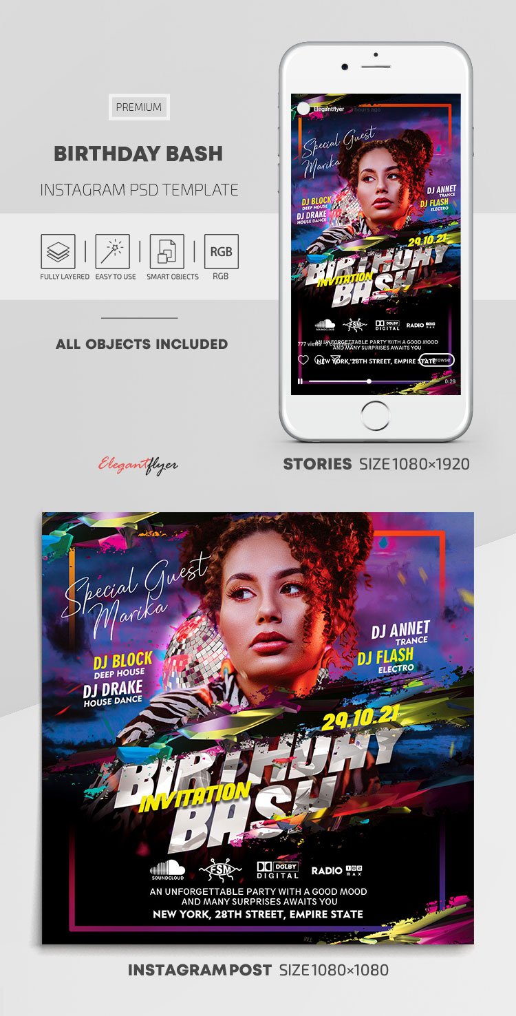 Birthday Bash – Instagram Stories Template in PSD + Post Templates