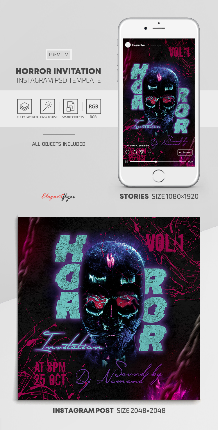 Horror Invitation – Instagram Stories Template in PSD + Post Templates