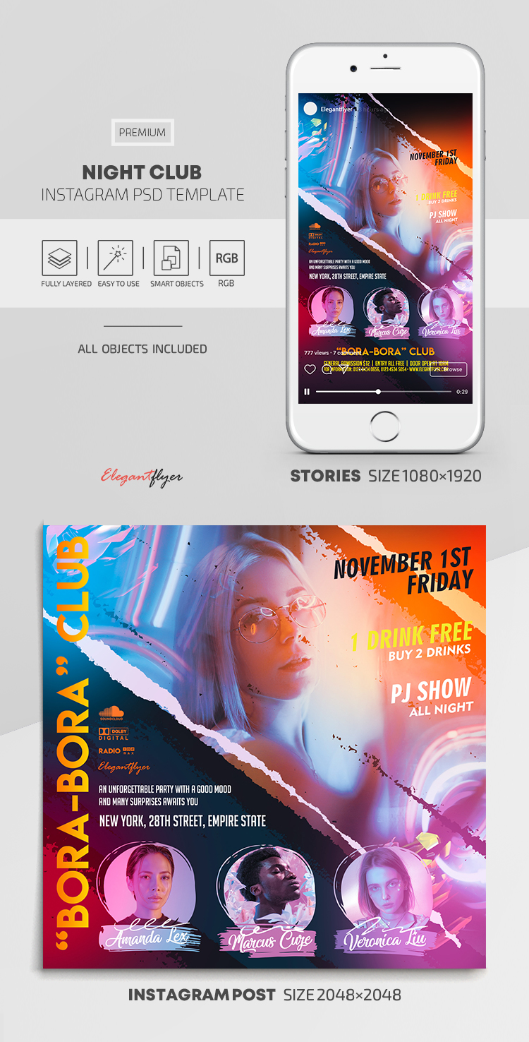 Night Party – Instagram Stories Template in PSD + Post Templates