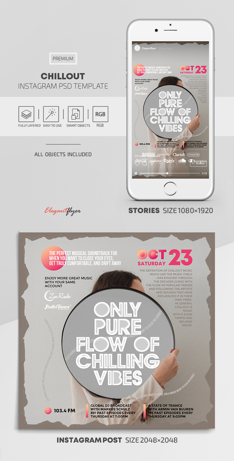 Chillout – Instagram Stories Template in PSD + Post Templates